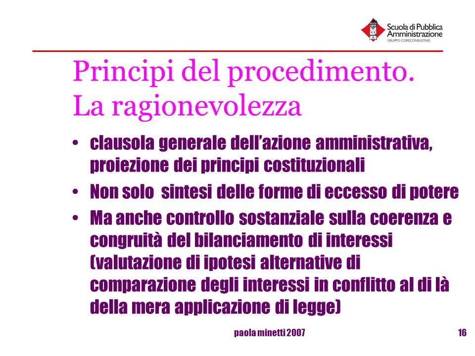 Principi del procedimento. La ragionevolezza