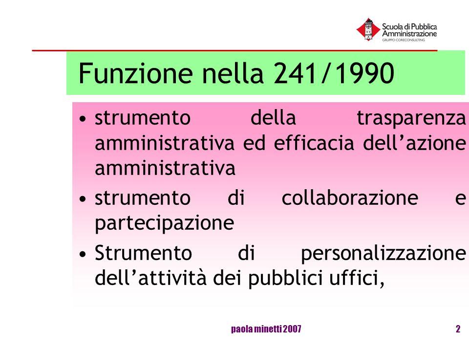 Funzione nella 241/1990 strumento della trasparenza amministrativa ed efficacia dell'azione amministrativa.
