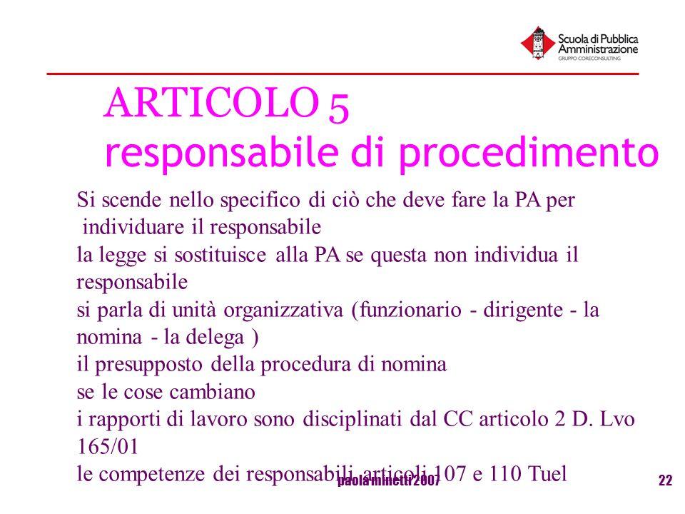 ARTICOLO 5 responsabile di procedimento
