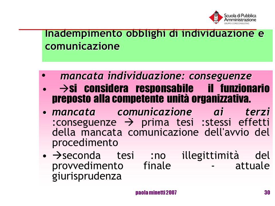 Inadempimento obblighi di individuazione e comunicazione