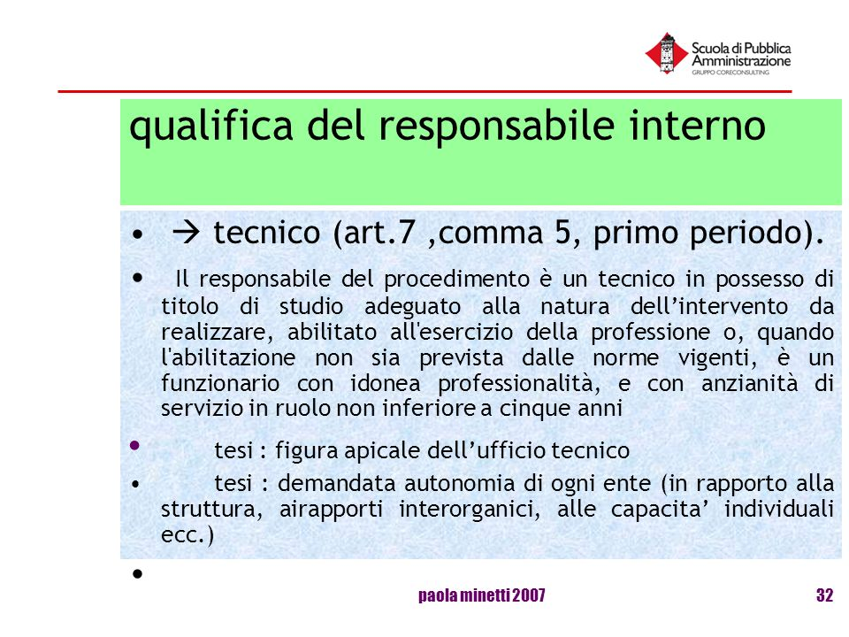 qualifica del responsabile interno