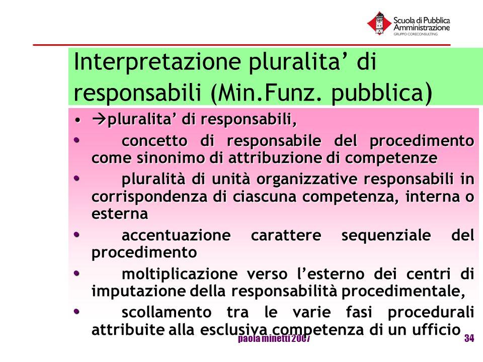 Interpretazione pluralita' di responsabili (Min.Funz. pubblica)
