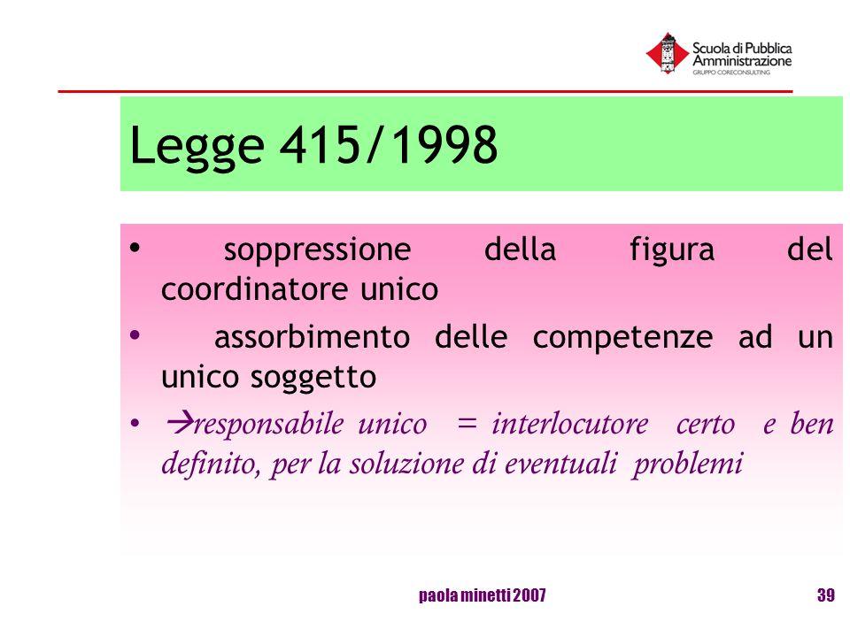 Legge 415/1998 soppressione della figura del coordinatore unico