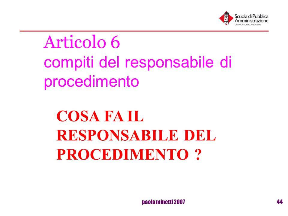 Articolo 6 compiti del responsabile di procedimento