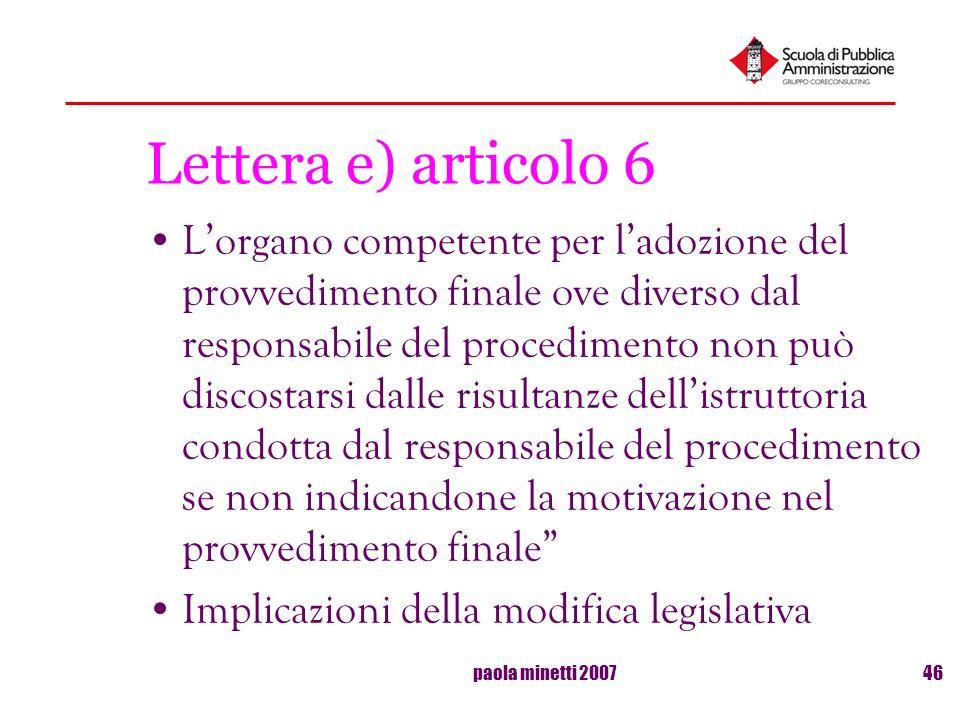 Lettera e) articolo 6