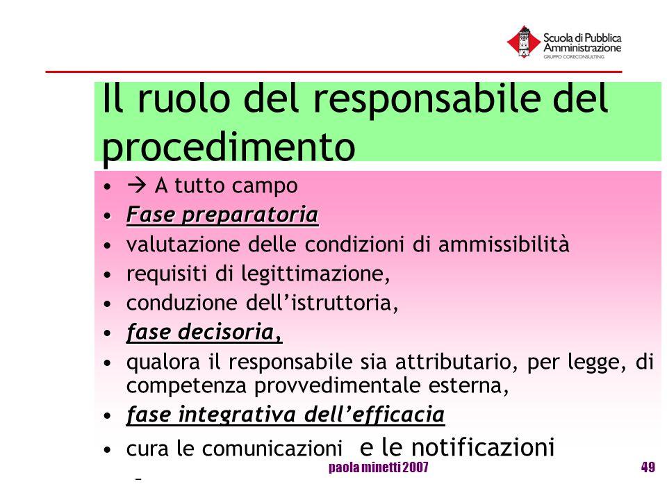 Il ruolo del responsabile del procedimento