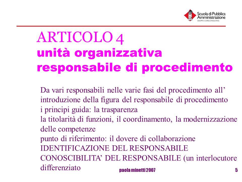 ARTICOLO 4 unità organizzativa responsabile di procedimento