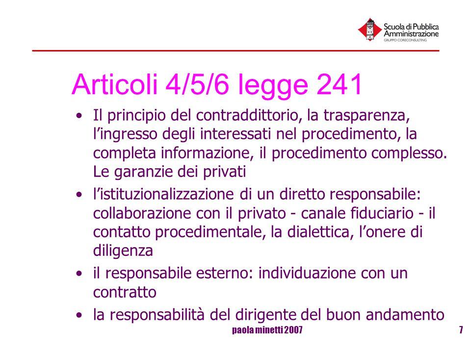 Articoli 4/5/6 legge 241