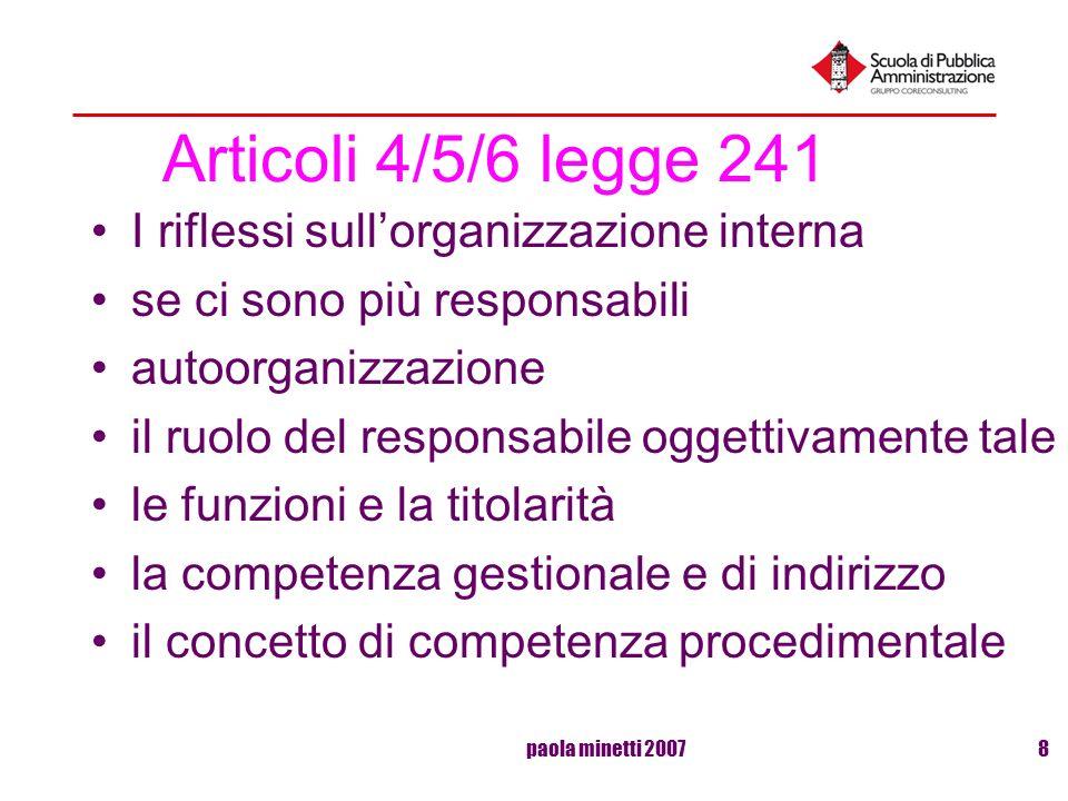 Articoli 4/5/6 legge 241 I riflessi sull'organizzazione interna
