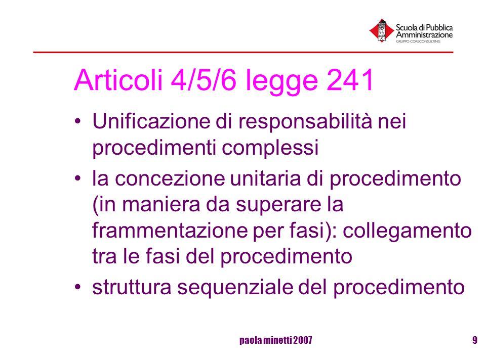 Articoli 4/5/6 legge 241 Unificazione di responsabilità nei procedimenti complessi.