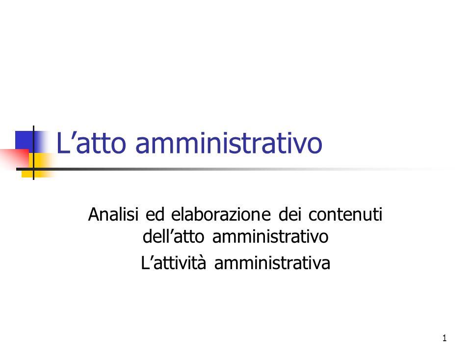 L'atto amministrativo