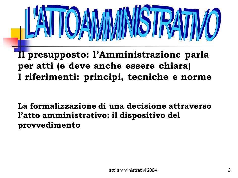 L ATTO AMMINISTRATIVO Il presupposto: l'Amministrazione parla per atti (e deve anche essere chiara) I riferimenti: principi, tecniche e norme.