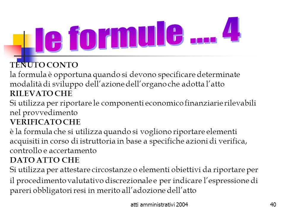 le formule .... 4 TENUTO CONTO