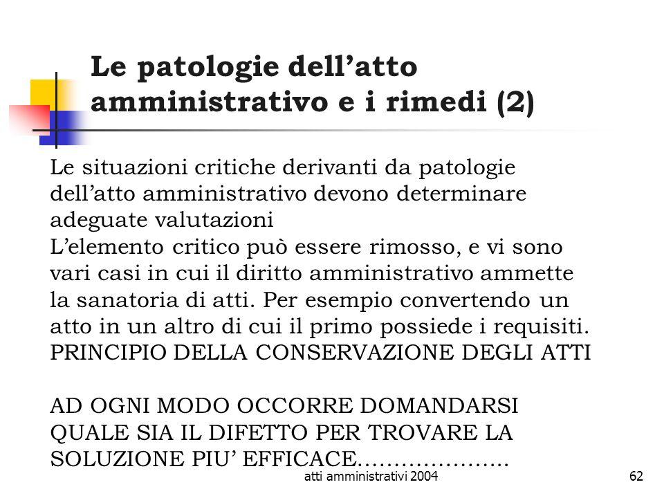 Le patologie dell'atto amministrativo e i rimedi (2)