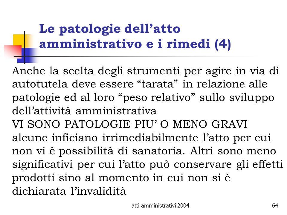 Le patologie dell'atto amministrativo e i rimedi (4)