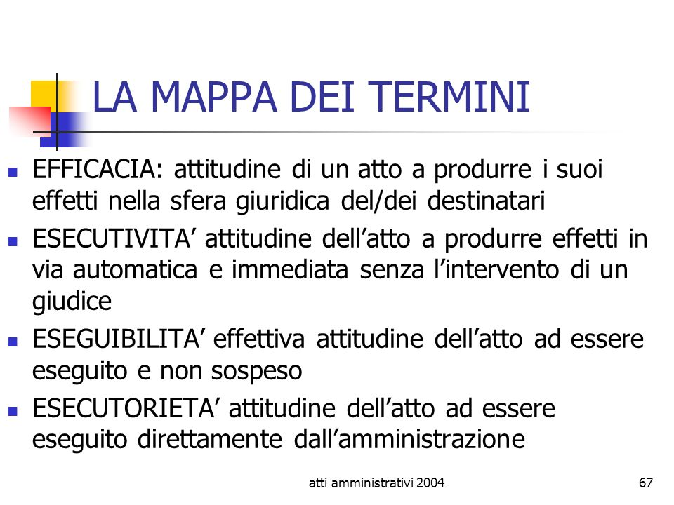 LA MAPPA DEI TERMINI EFFICACIA: attitudine di un atto a produrre i suoi effetti nella sfera giuridica del/dei destinatari.