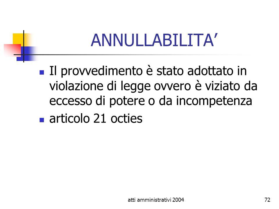 ANNULLABILITA' Il provvedimento è stato adottato in violazione di legge ovvero è viziato da eccesso di potere o da incompetenza.