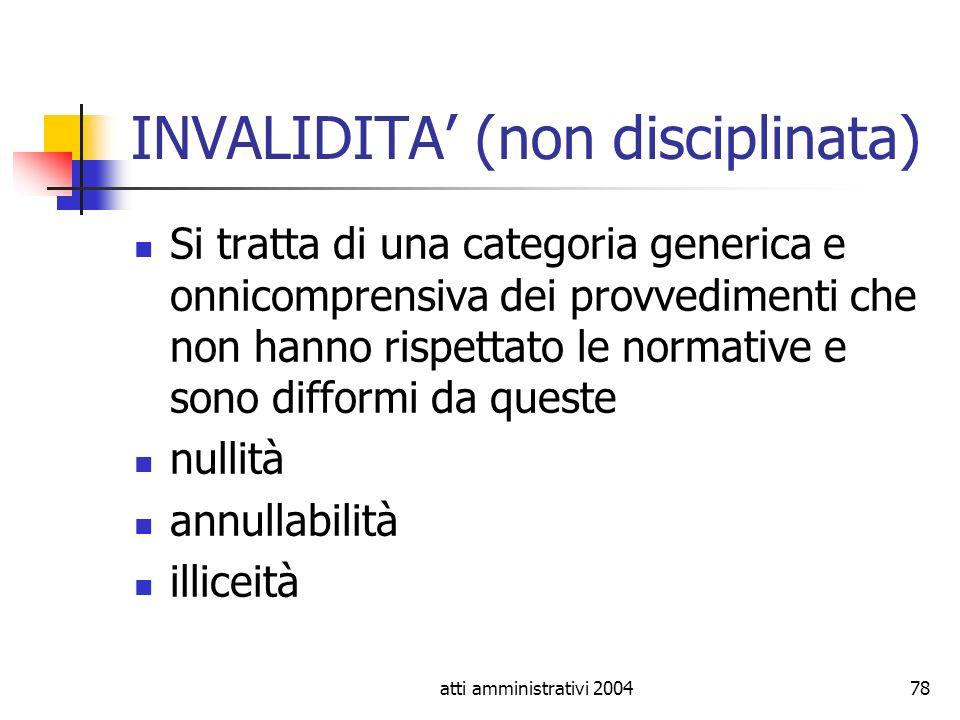 INVALIDITA' (non disciplinata)