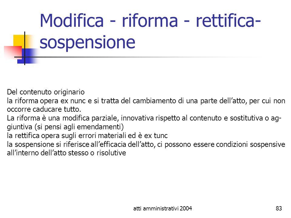 Modifica - riforma - rettifica- sospensione