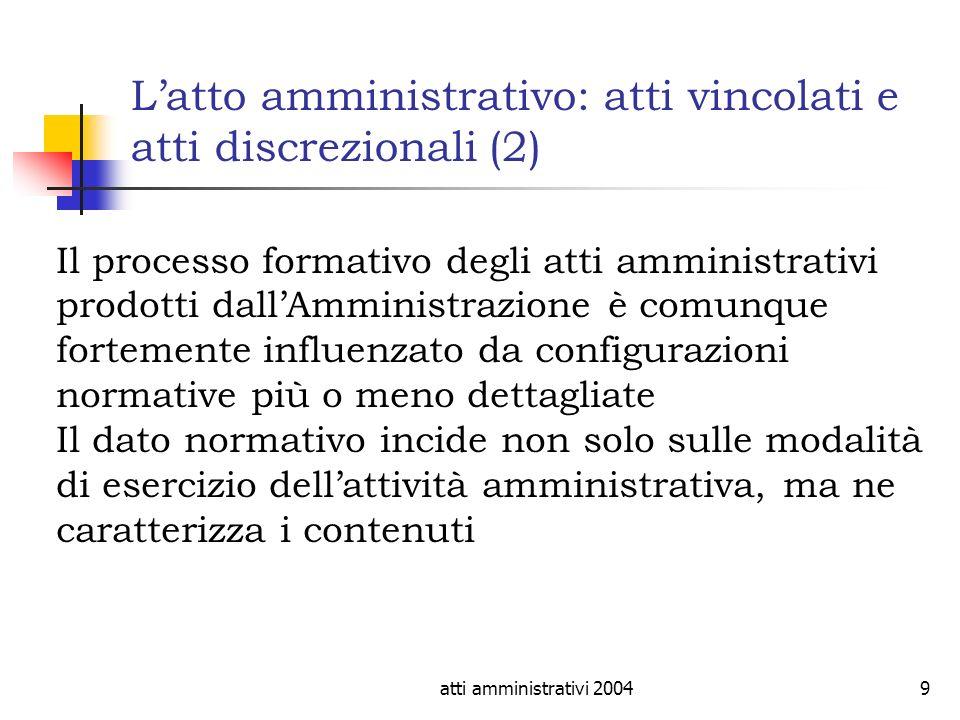 L'atto amministrativo: atti vincolati e atti discrezionali (2)
