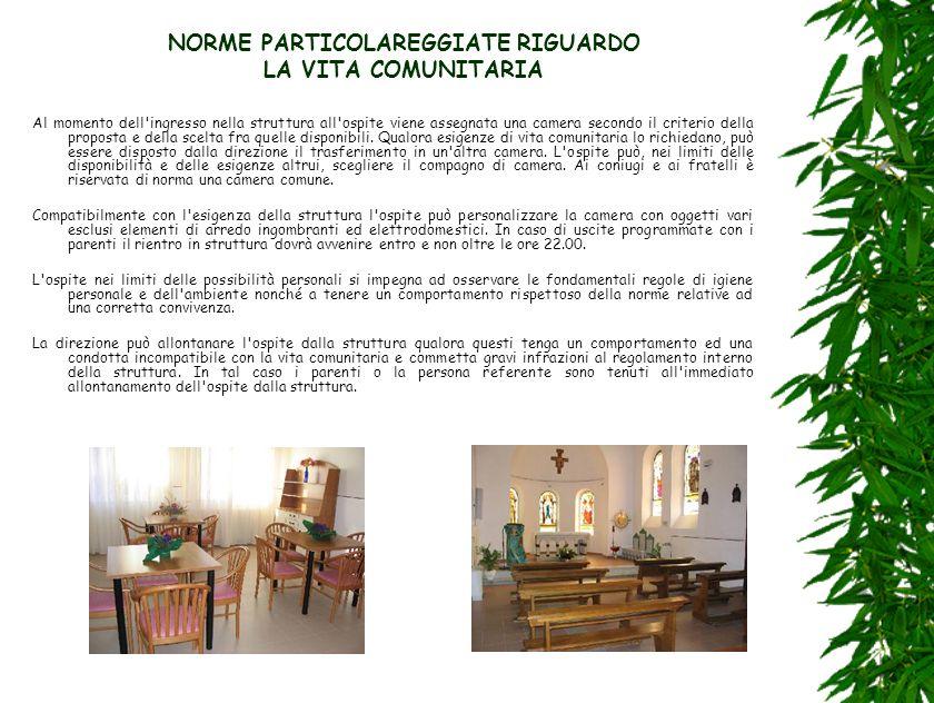 NORME PARTICOLAREGGIATE RIGUARDO LA VITA COMUNITARIA