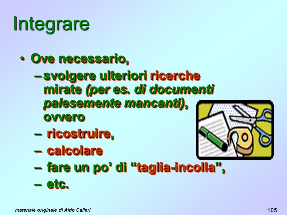 Integrare Ove necessario,