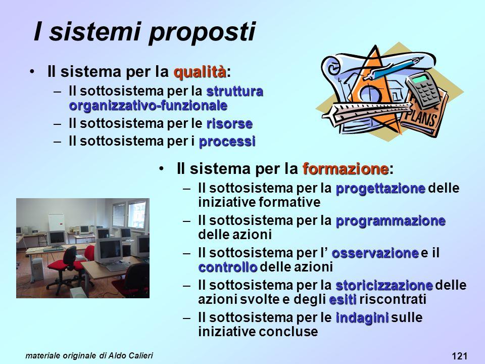 I sistemi proposti Il sistema per la qualità: