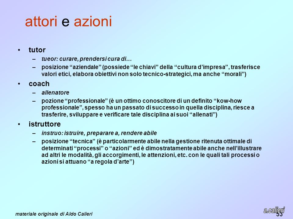 attori e azioni a.calieri tutor coach istruttore