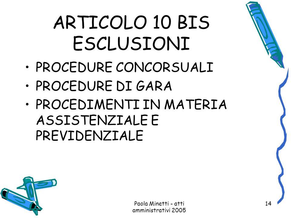 ARTICOLO 10 BIS ESCLUSIONI