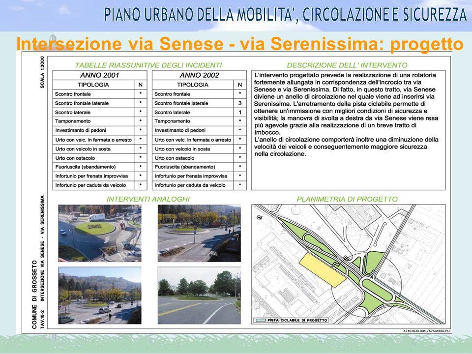 Intersezione via Senese - via Serenissima: progetto
