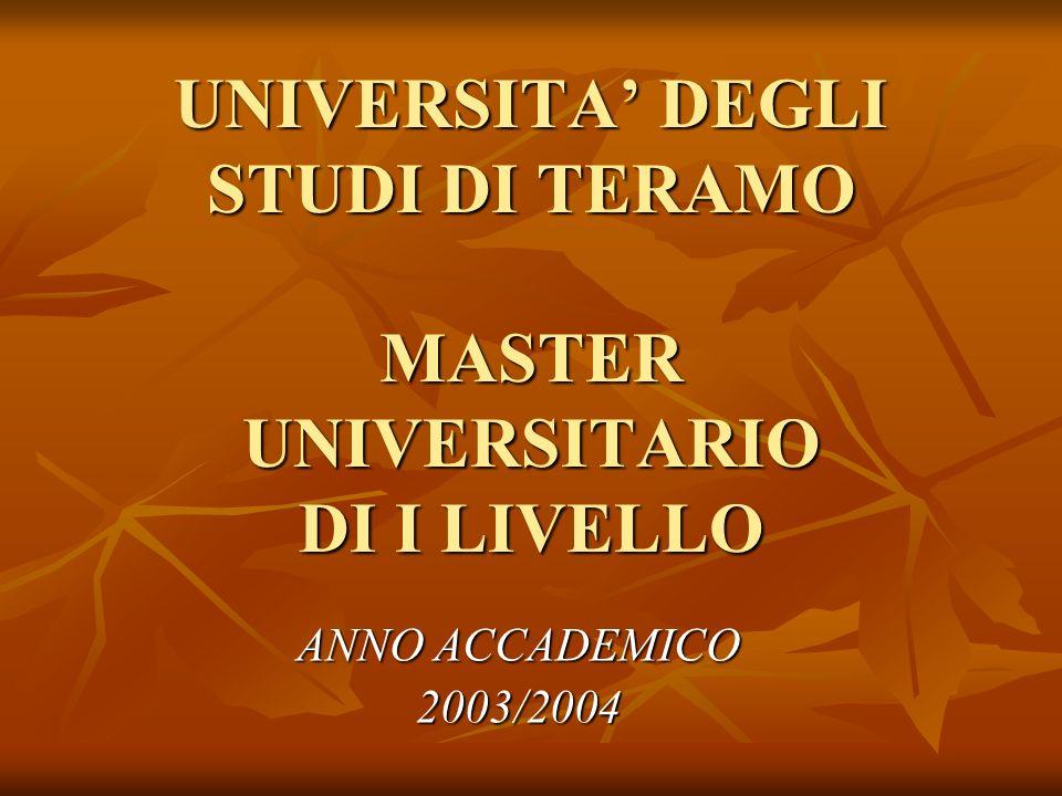 UNIVERSITA' DEGLI STUDI DI TERAMO MASTER UNIVERSITARIO DI I LIVELLO