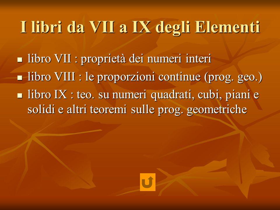 I libri da VII a IX degli Elementi
