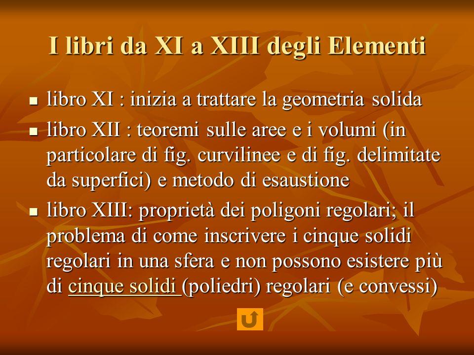 I libri da XI a XIII degli Elementi