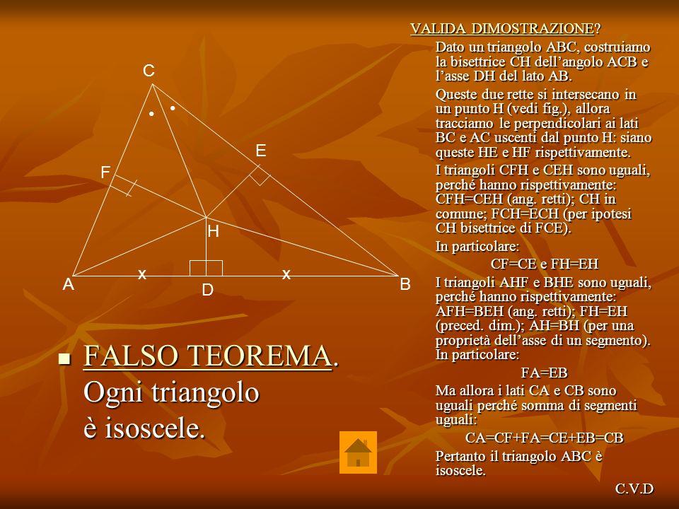 FALSO TEOREMA. Ogni triangolo è isoscele. C • • E F H x x A B D