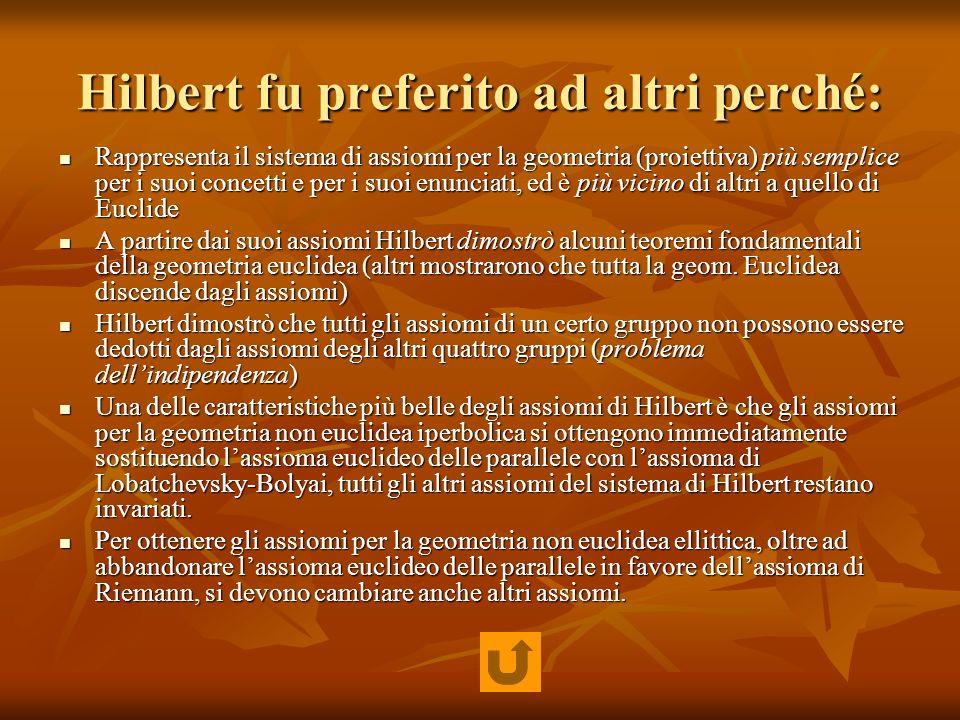 Hilbert fu preferito ad altri perché: