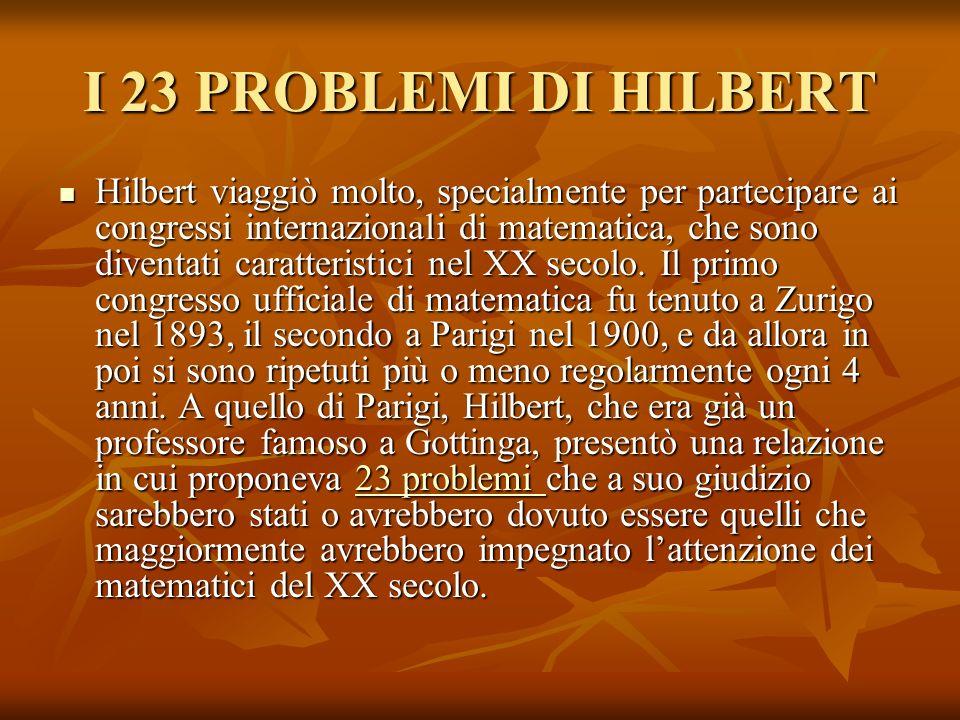 I 23 PROBLEMI DI HILBERT