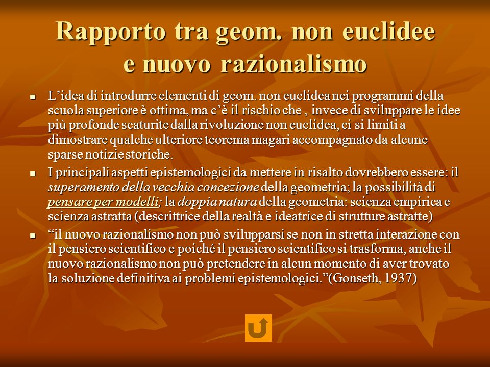 Rapporto tra geom. non euclidee e nuovo razionalismo