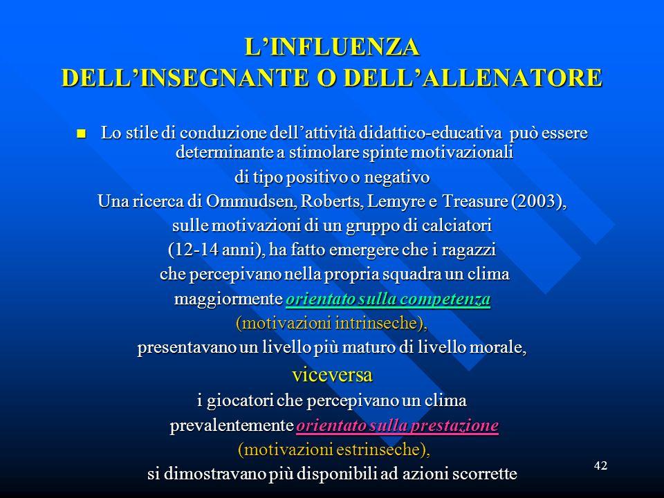 L'INFLUENZA DELL'INSEGNANTE O DELL'ALLENATORE