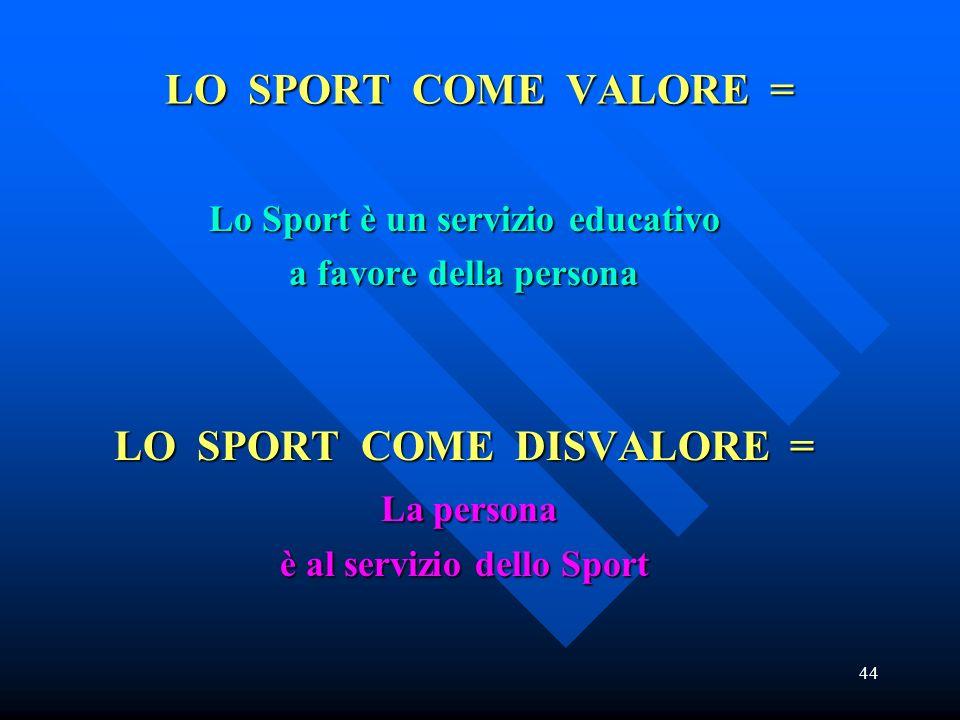 LO SPORT COME VALORE = LO SPORT COME DISVALORE = La persona
