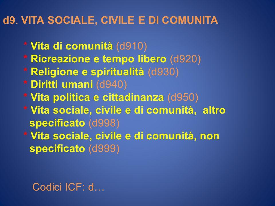 d9. VITA SOCIALE, CIVILE E DI COMUNITA