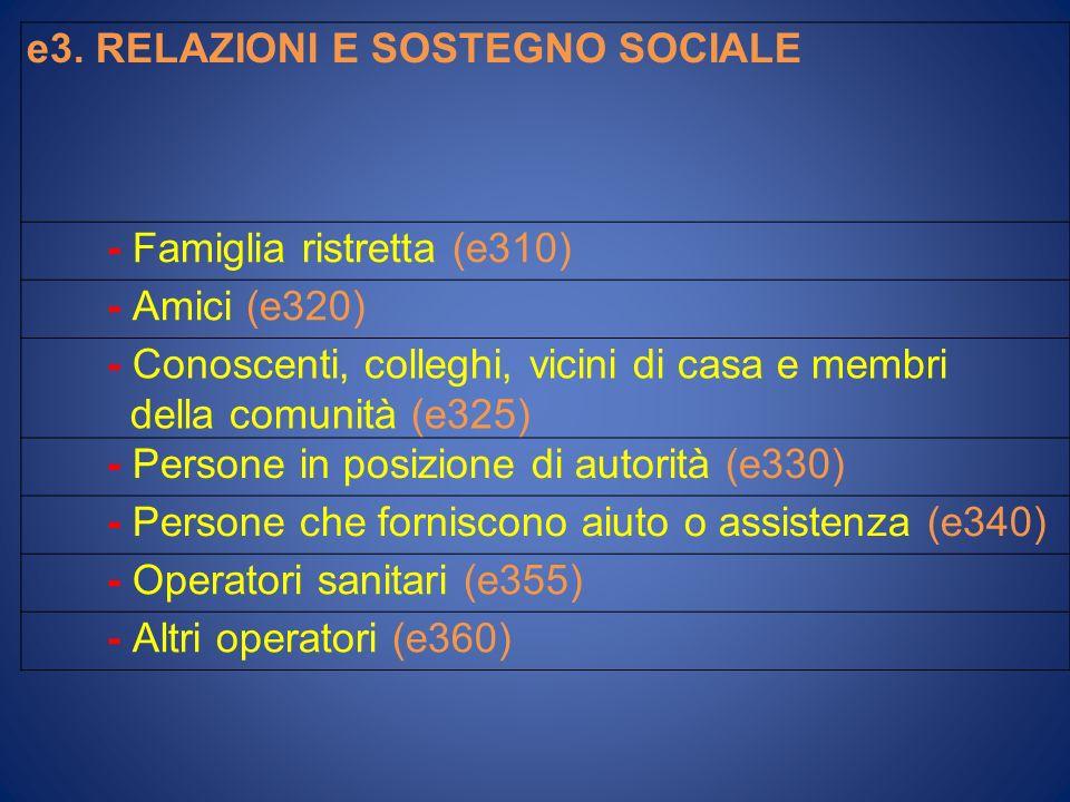 e3. RELAZIONI E SOSTEGNO SOCIALE