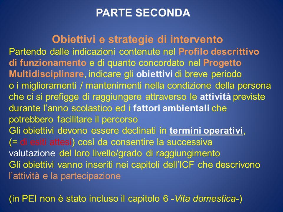 Obiettivi e strategie di intervento