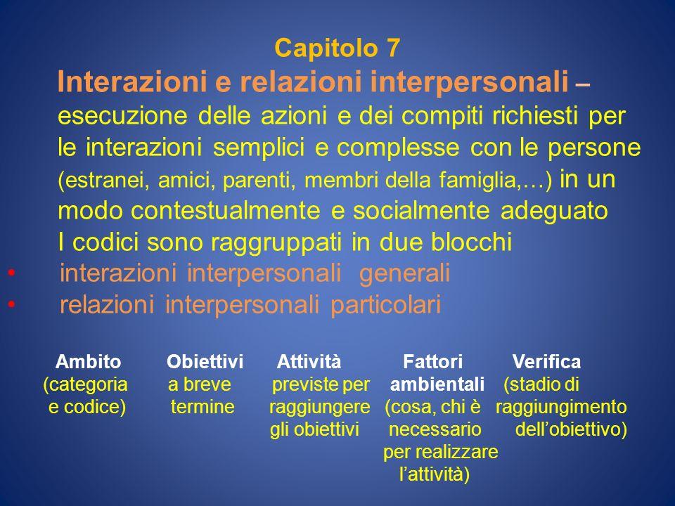 Interazioni e relazioni interpersonali –