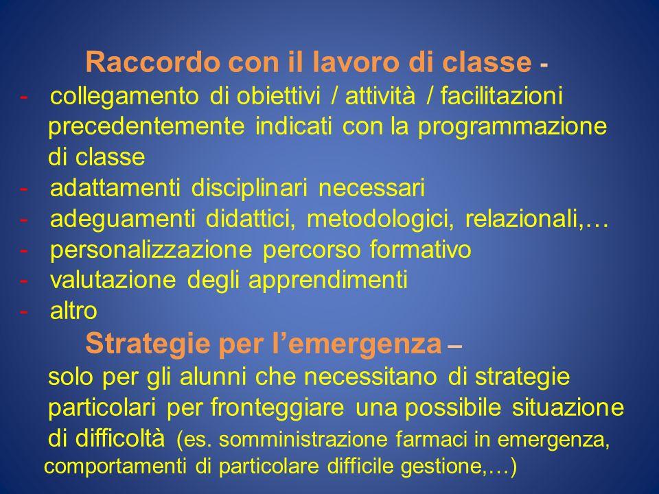 Raccordo con il lavoro di classe -