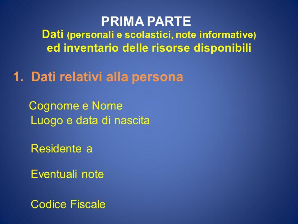 PRIMA PARTE Dati (personali e scolastici, note informative)