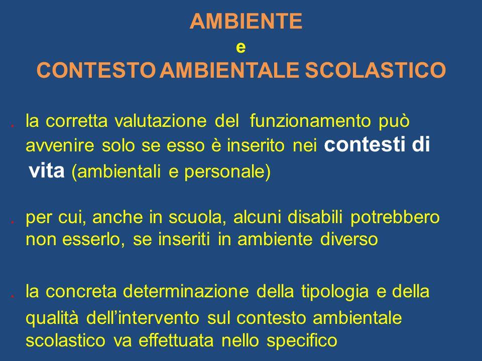 CONTESTO AMBIENTALE SCOLASTICO