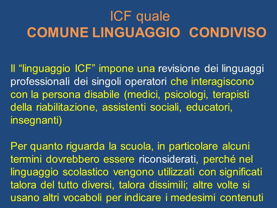 Il linguaggio ICF impone una revisione dei linguaggi professionali dei singoli operatori che interagiscono con la persona disabile (medici, psicologi, terapisti della riabilitazione, assistenti sociali, educatori, insegnanti)