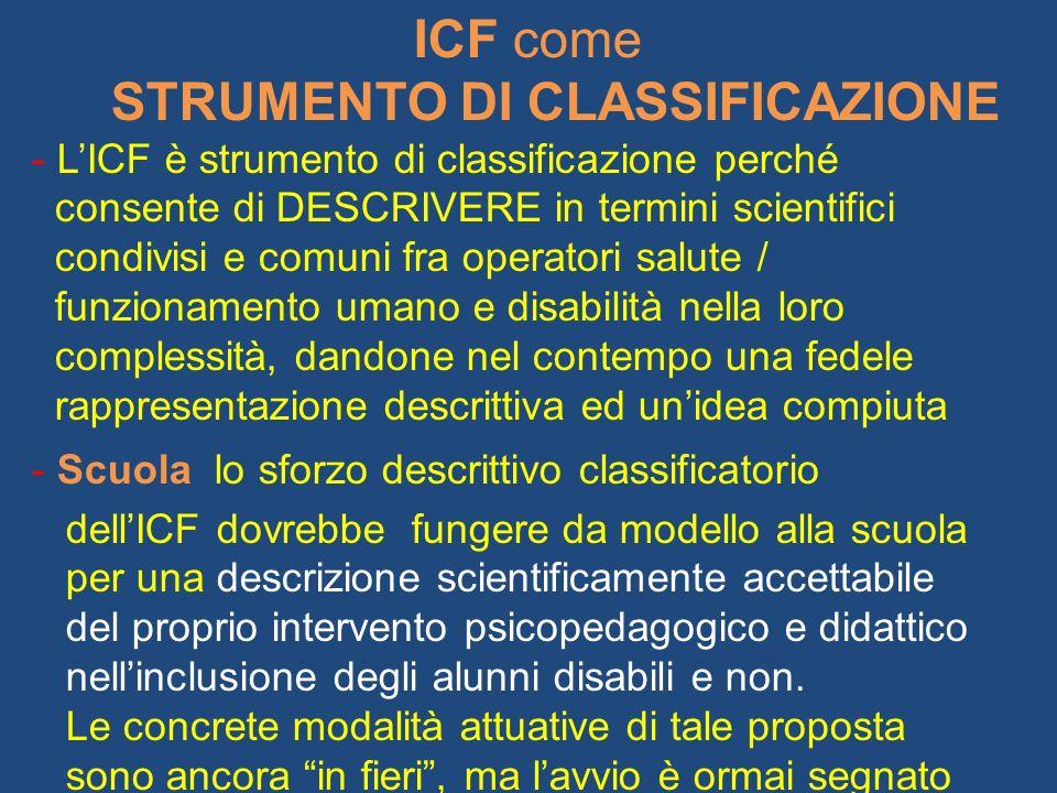 ICF come STRUMENTO DI CLASSIFICAZIONE