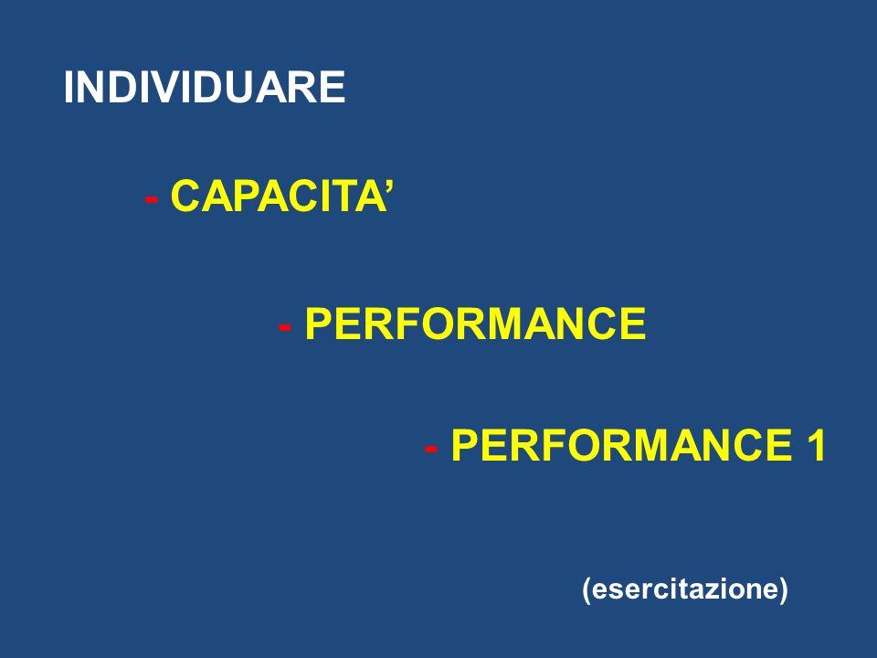 INDIVIDUARE - CAPACITA' - PERFORMANCE - PERFORMANCE 1 (esercitazione)