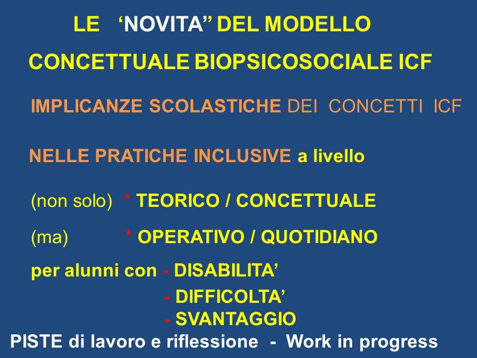 LE 'NOVITA'' DEL MODELLO CONCETTUALE BIOPSICOSOCIALE ICF